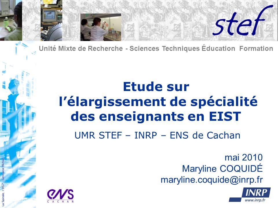 Etude sur l'élargissement de spécialité des enseignants en EIST