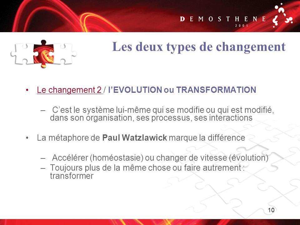 Les deux types de changement
