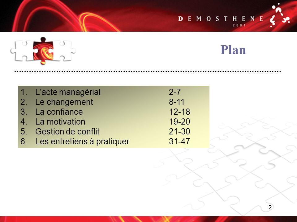 Plan L'acte managérial 2-7 Le changement 8-11 La confiance 12-18