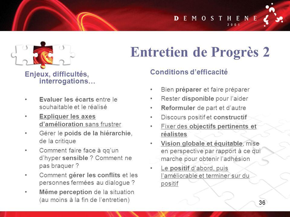 Entretien de Progrès 2 Conditions d'efficacité