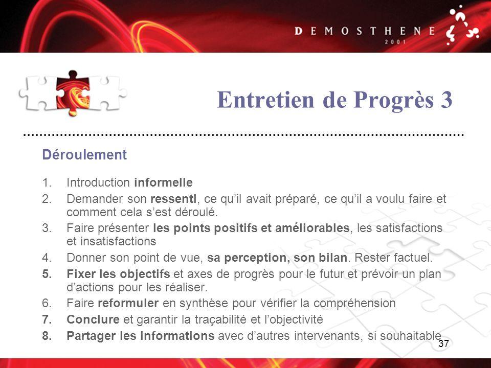 Entretien de Progrès 3 Déroulement Introduction informelle
