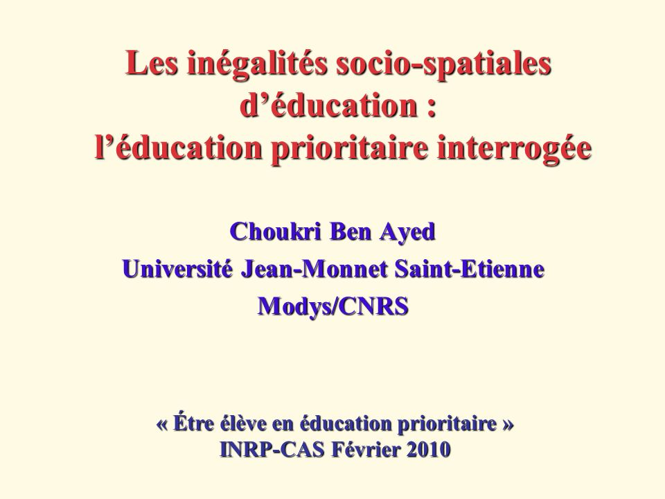Choukri Ben Ayed Université Jean-Monnet Saint-Etienne Modys/CNRS