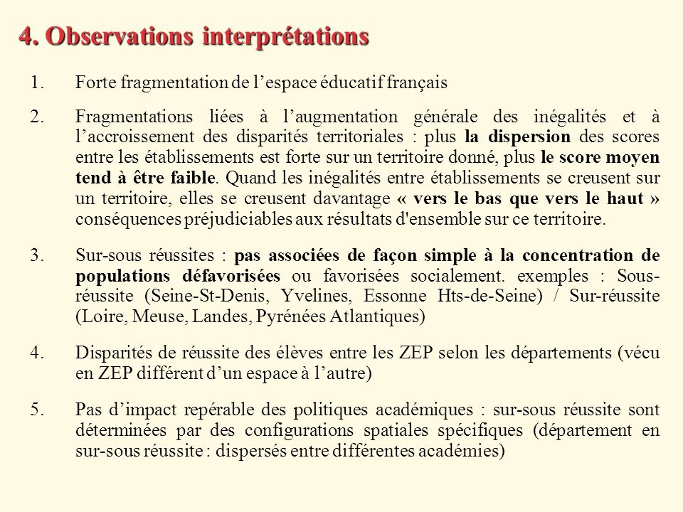 4. Observations interprétations
