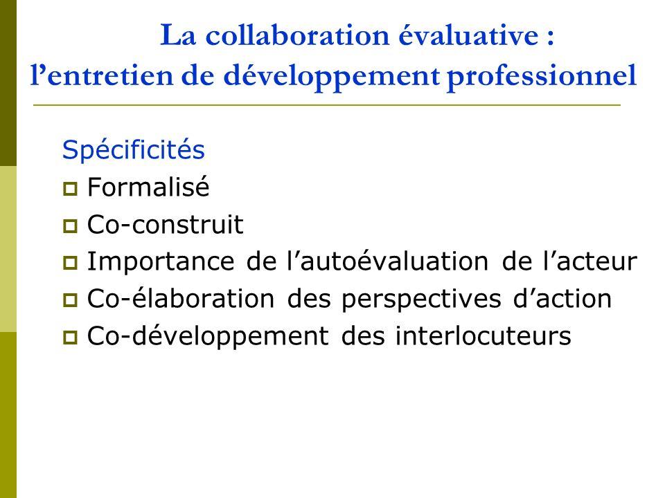 La collaboration évaluative : l'entretien de développement professionnel