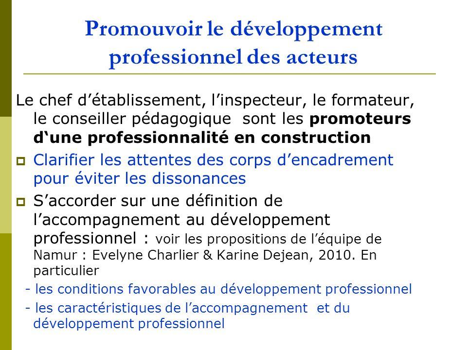 Promouvoir le développement professionnel des acteurs