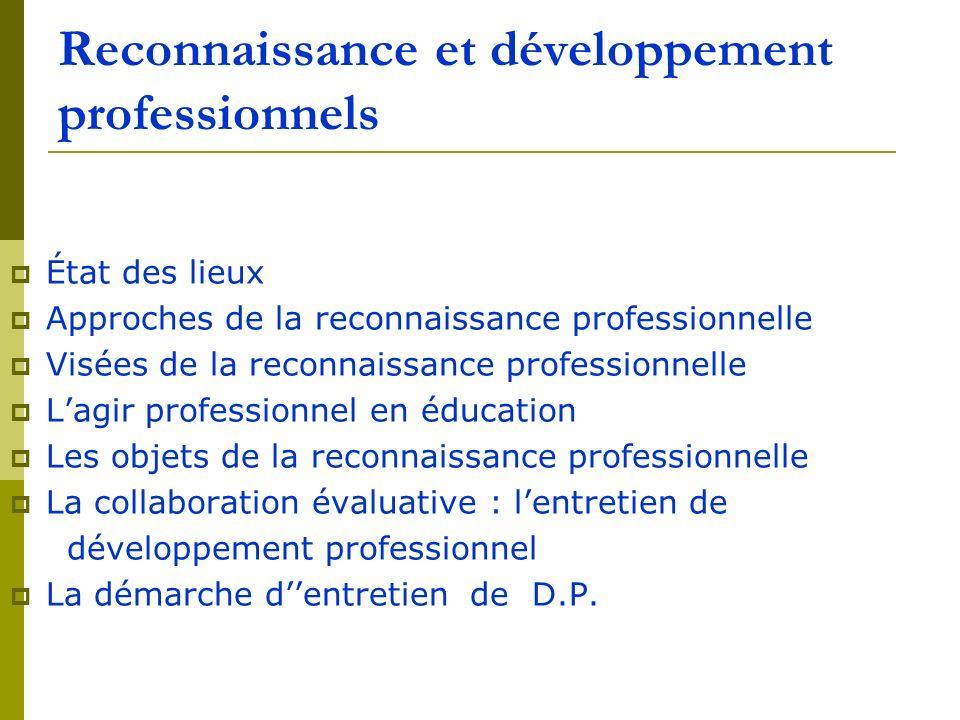 Reconnaissance et développement professionnels