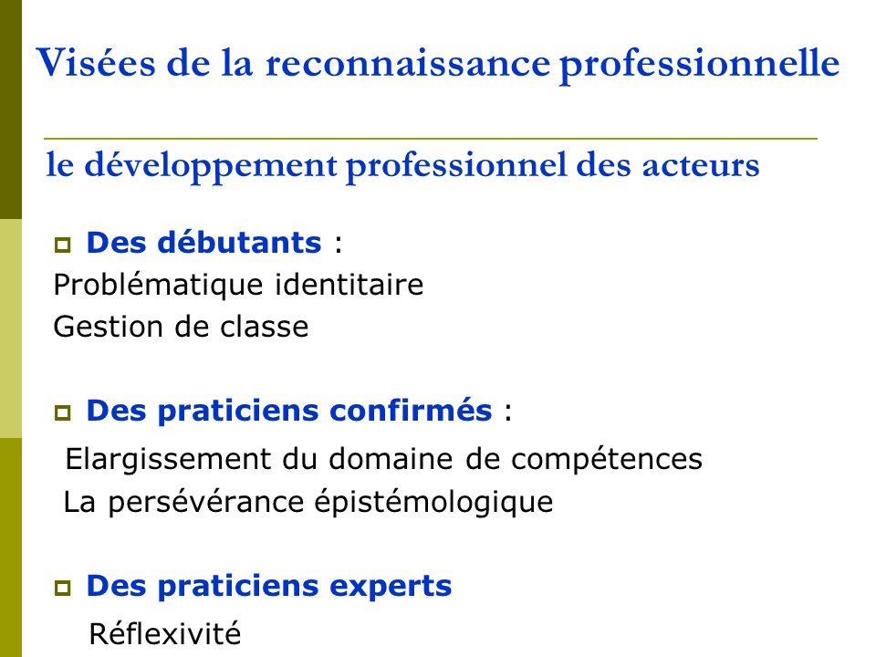 Visées de la reconnaissance professionnelle le développement professionnel des acteurs