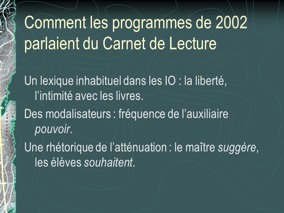 Comment les programmes de 2002 parlaient du Carnet de Lecture