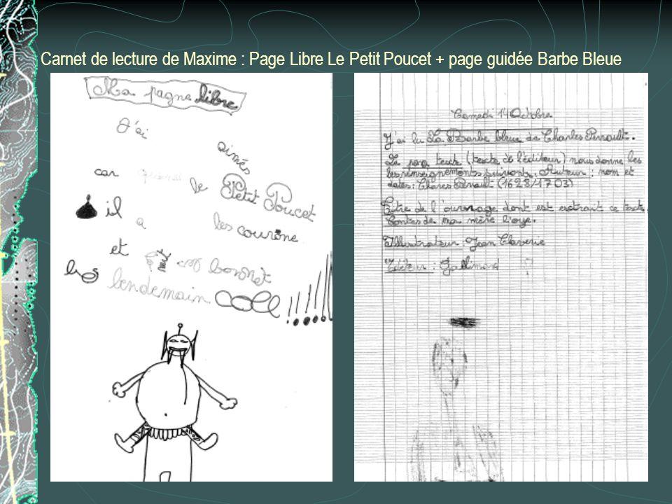 Carnet de lecture de Maxime : Page Libre Le Petit Poucet + page guidée Barbe Bleue