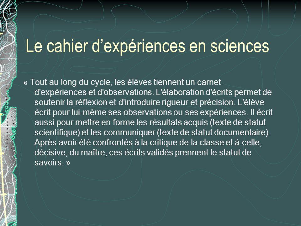 Le cahier d'expériences en sciences