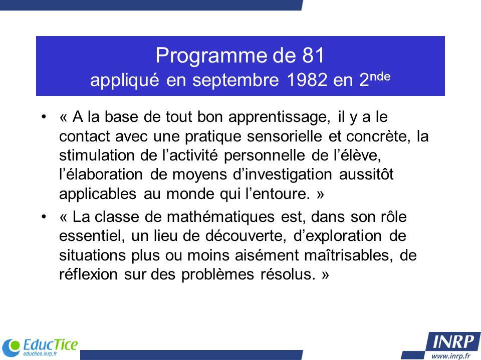 Programme de 81 appliqué en septembre 1982 en 2nde