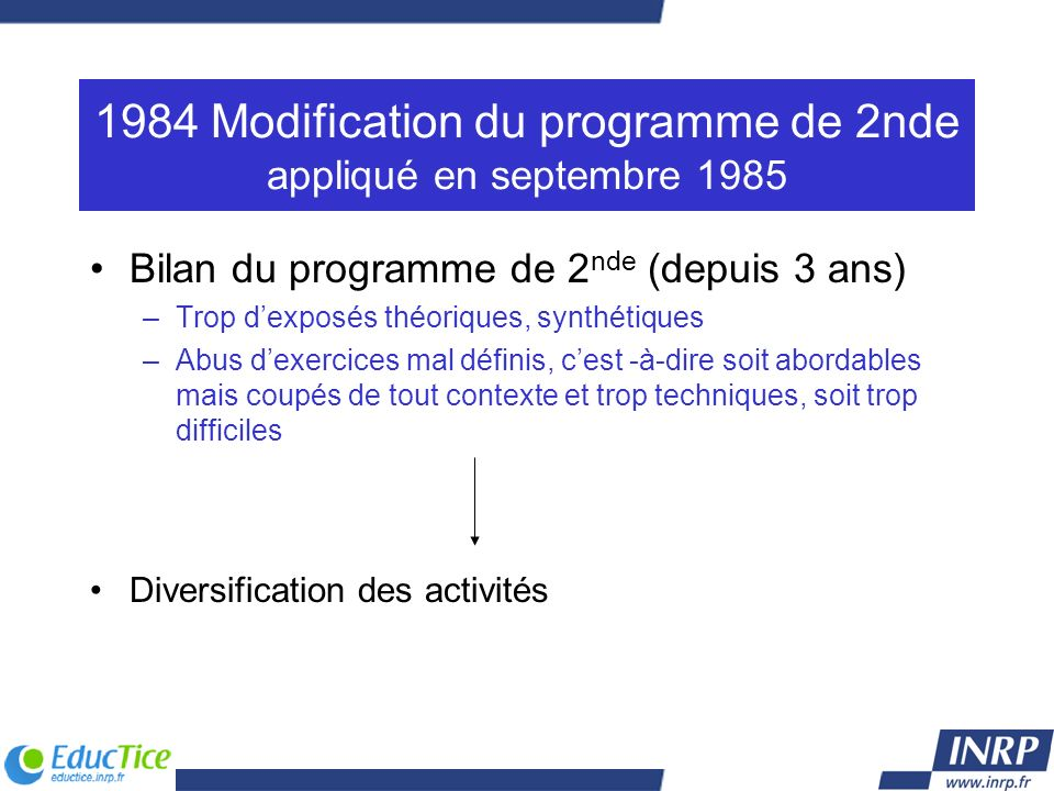 1984 Modification du programme de 2nde appliqué en septembre 1985