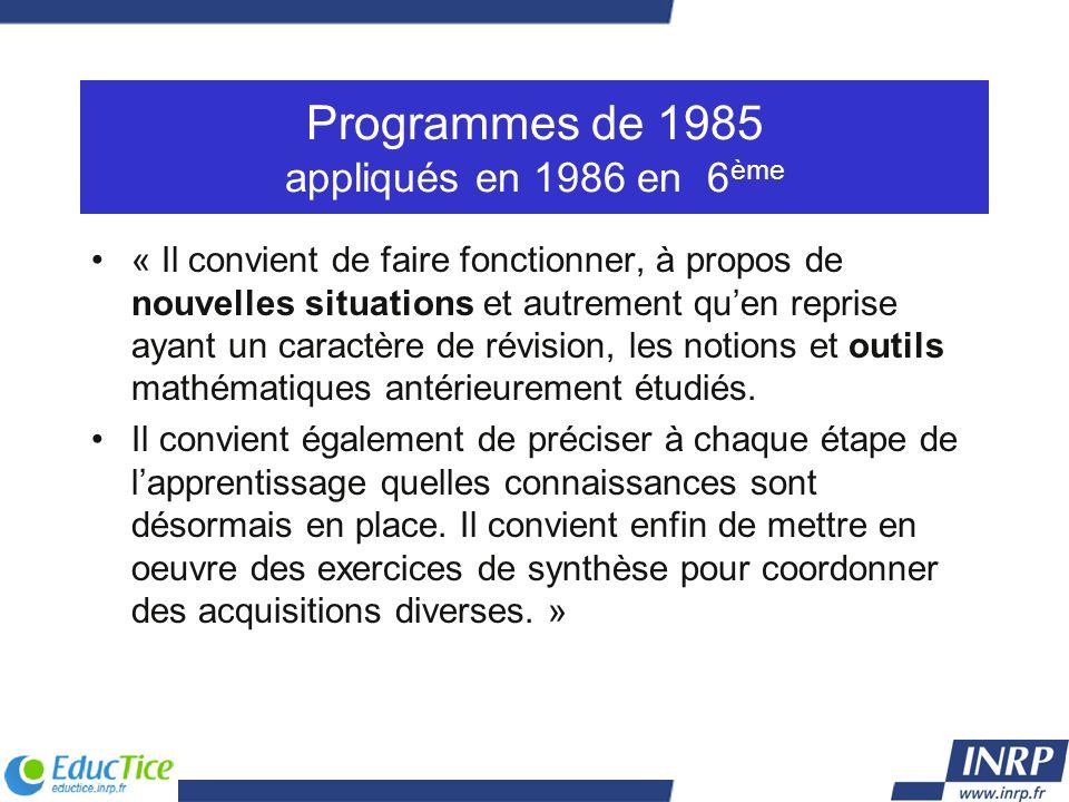 Programmes de 1985 appliqués en 1986 en 6ème