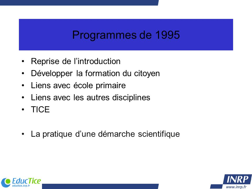 Programmes de 1995 Reprise de l'introduction