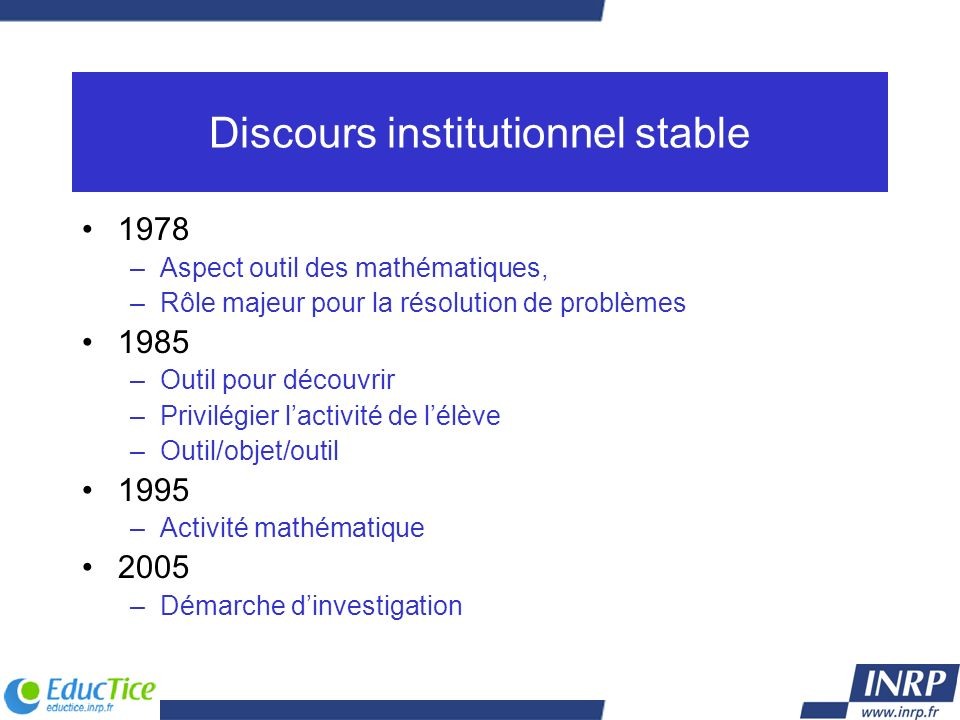 Discours institutionnel stable
