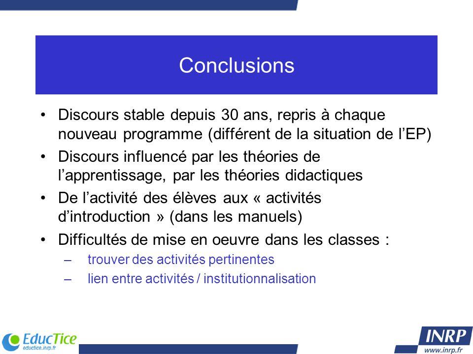 Conclusions Discours stable depuis 30 ans, repris à chaque nouveau programme (différent de la situation de l'EP)