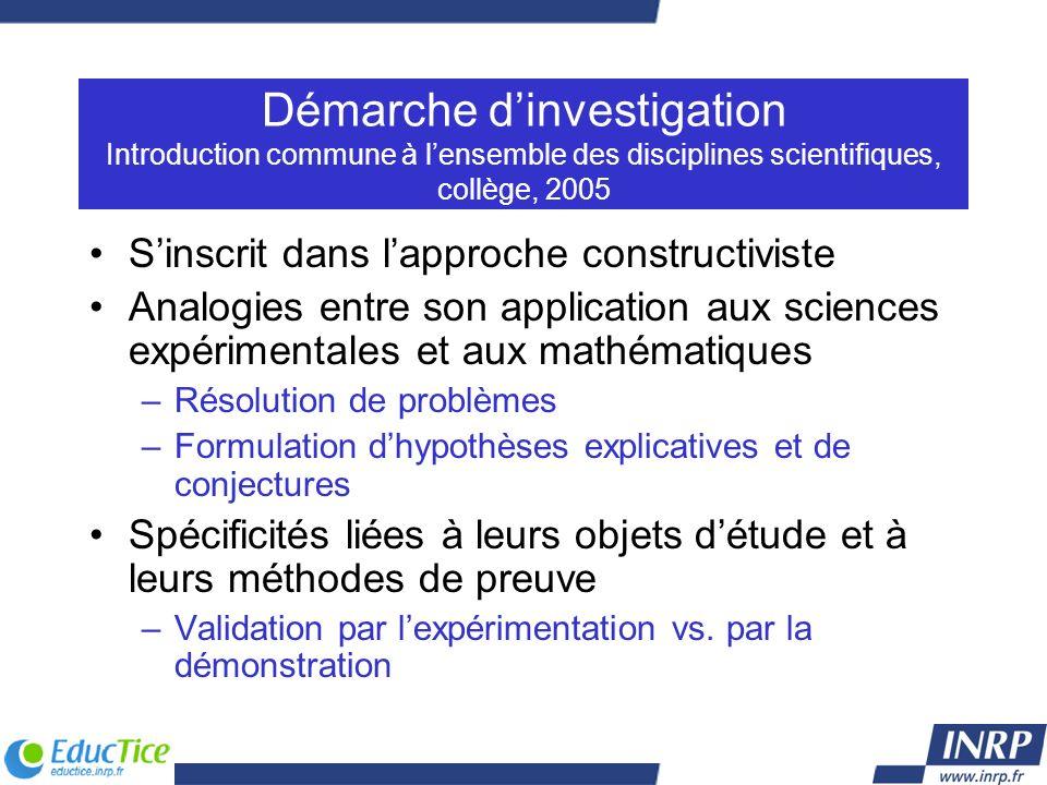 Démarche d'investigation Introduction commune à l'ensemble des disciplines scientifiques, collège, 2005