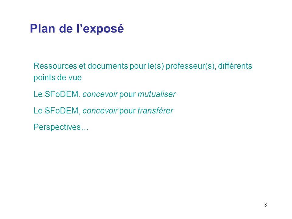 Plan de l'exposé Ressources et documents pour le(s) professeur(s), différents points de vue. Le SFoDEM, concevoir pour mutualiser.