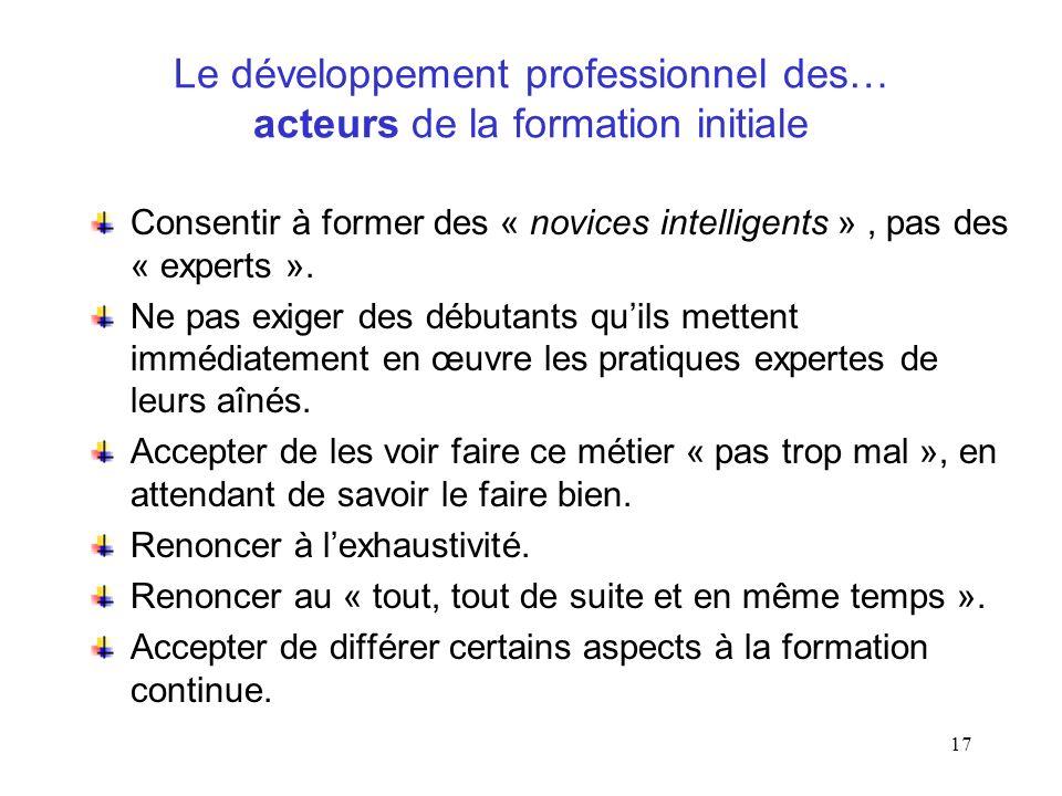 Le développement professionnel des… acteurs de la formation initiale