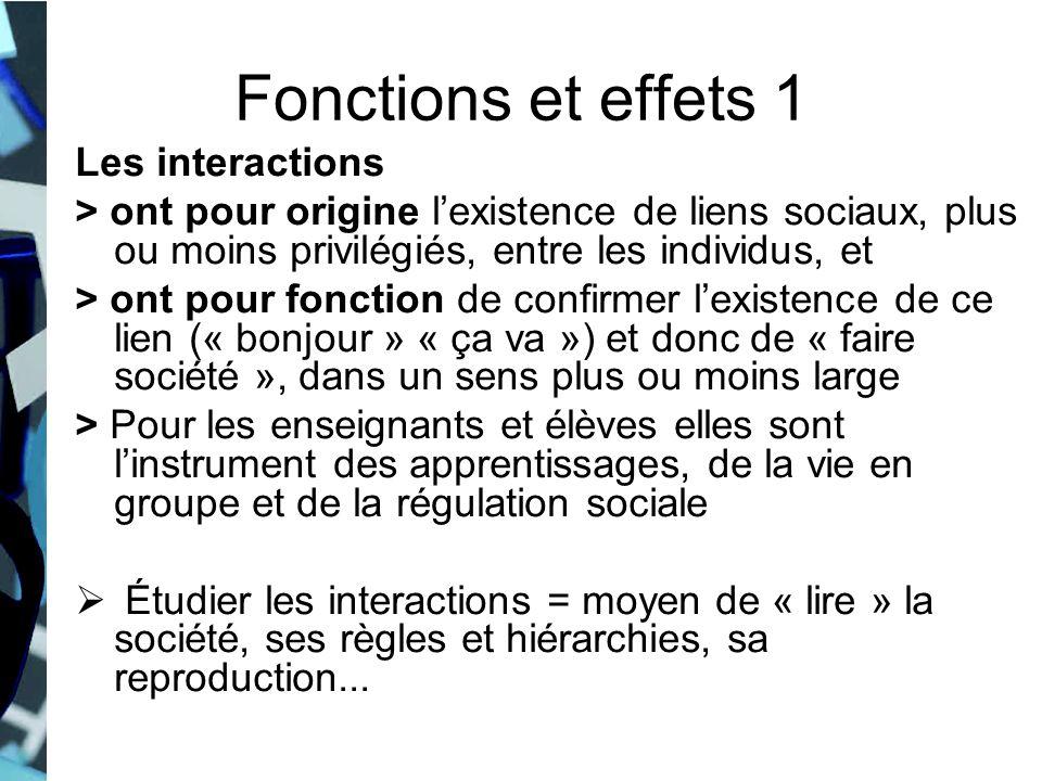 Fonctions et effets 1 Les interactions
