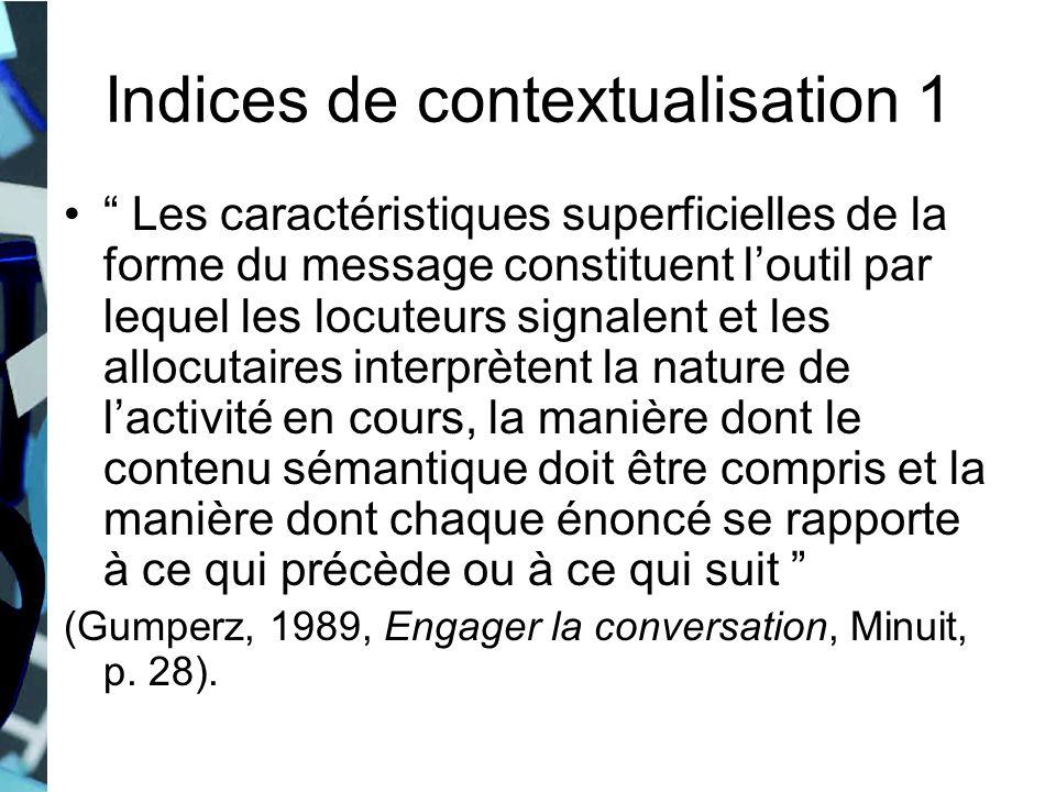 Indices de contextualisation 1