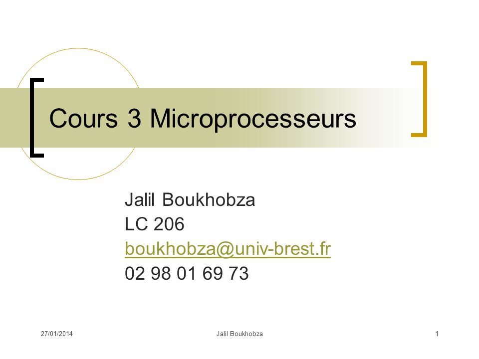 Cours 3 Microprocesseurs