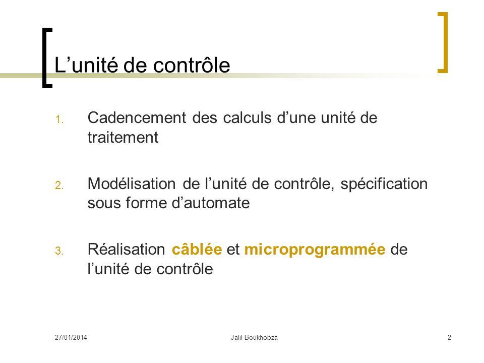 L'unité de contrôle Cadencement des calculs d'une unité de traitement