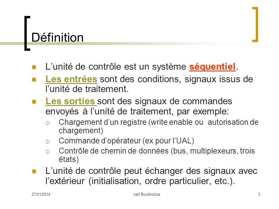 Définition L'unité de contrôle est un système séquentiel.