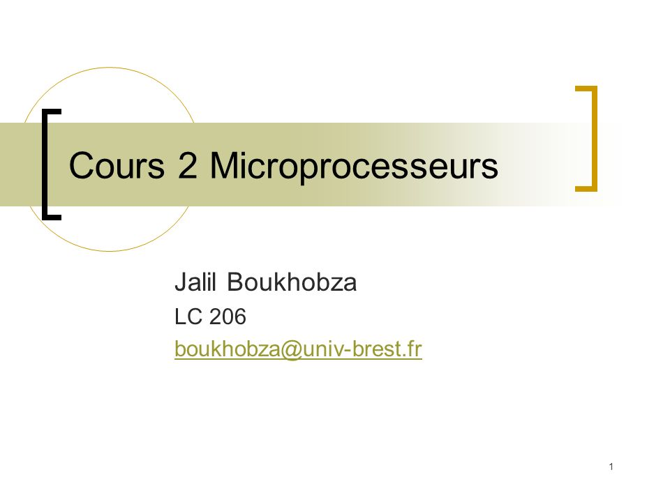 Cours 2 Microprocesseurs