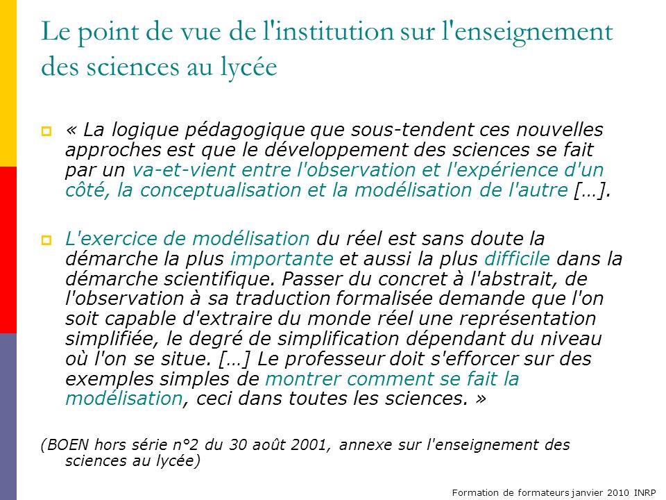 Formation de formateurs janvier 2010 INRP