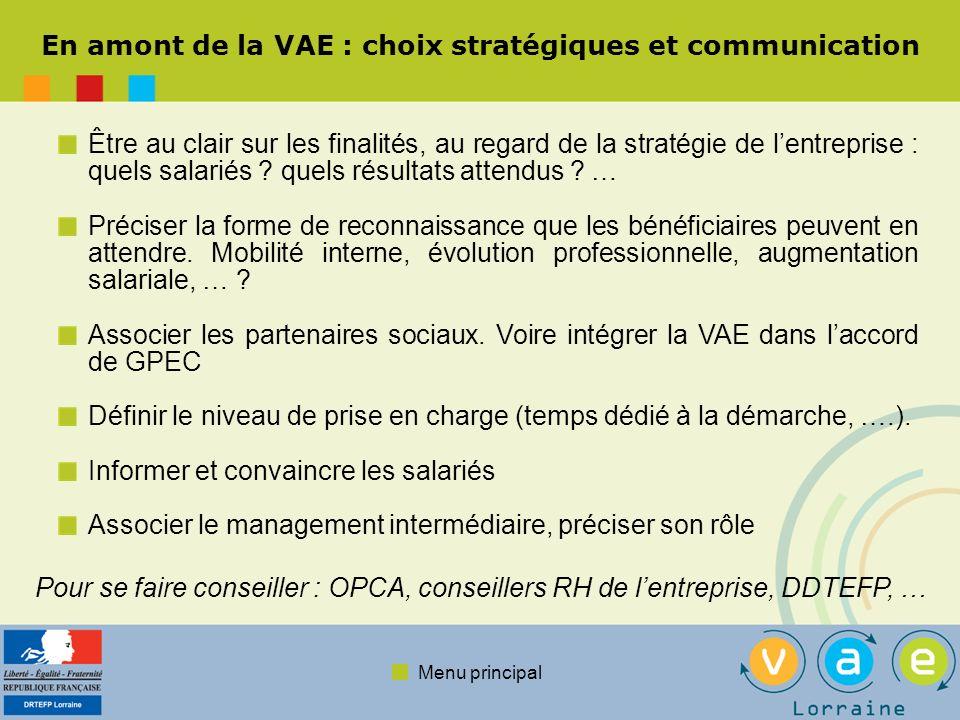 En amont de la VAE : choix stratégiques et communication