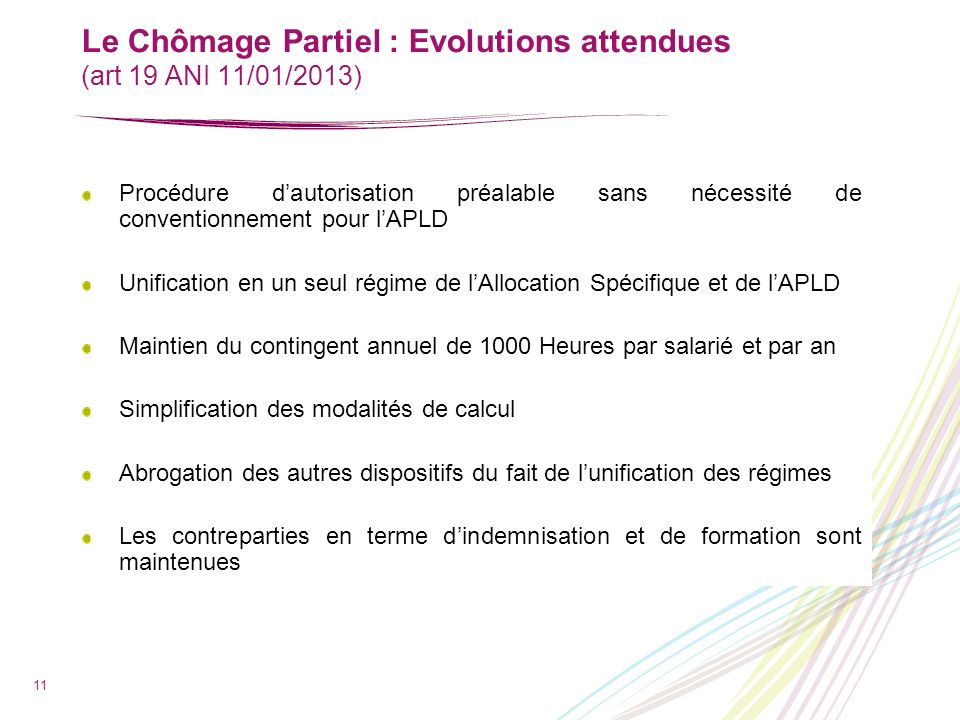 Le Chômage Partiel : Evolutions attendues (art 19 ANI 11/01/2013)