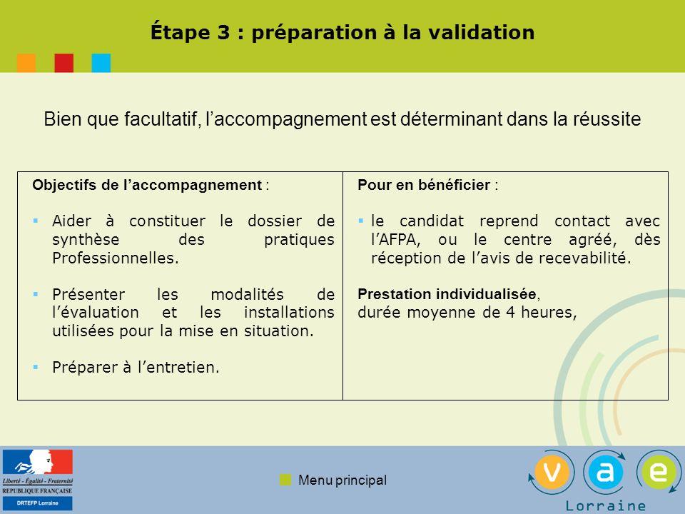 Étape 3 : préparation à la validation