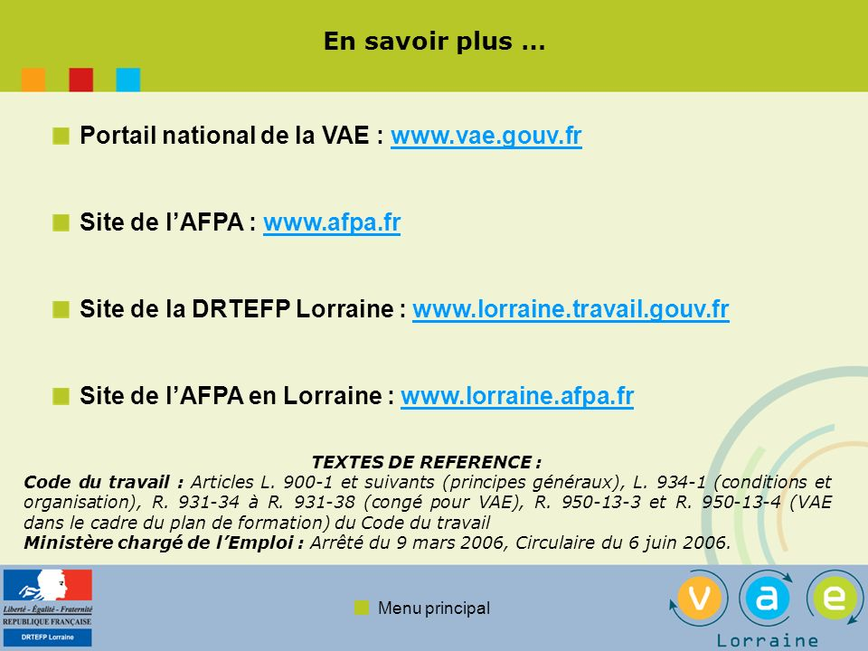 Portail national de la VAE : www.vae.gouv.fr