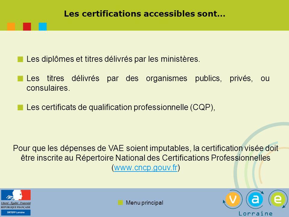 Les certifications accessibles sont…