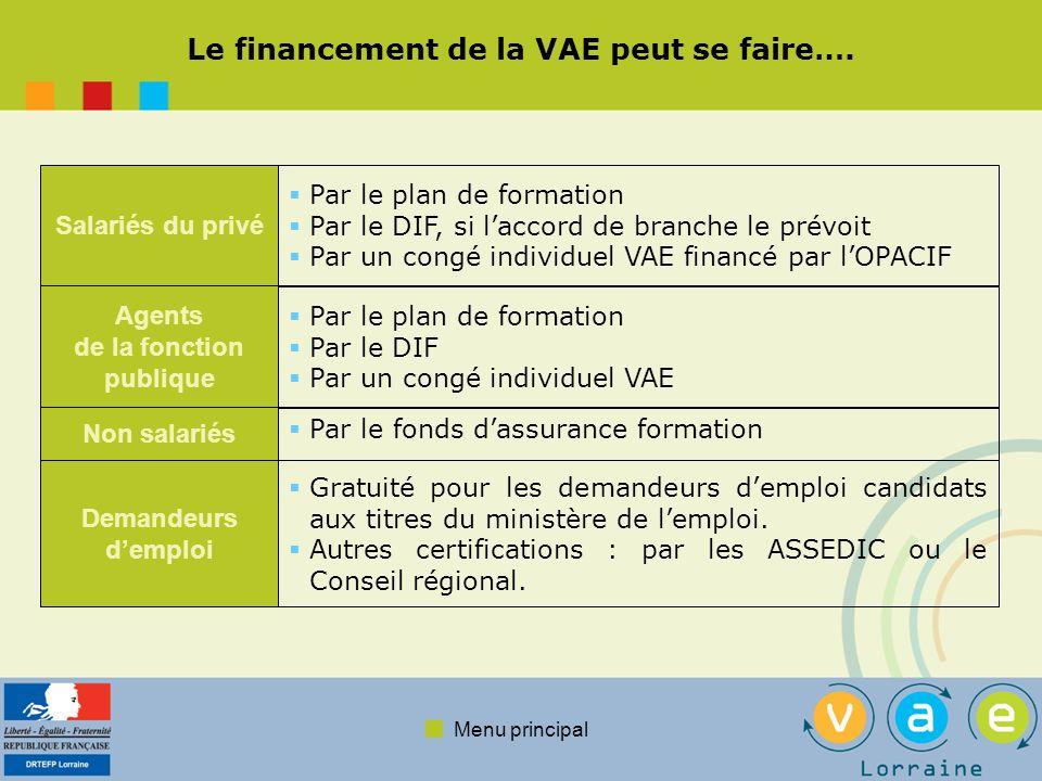 Le financement de la VAE peut se faire….