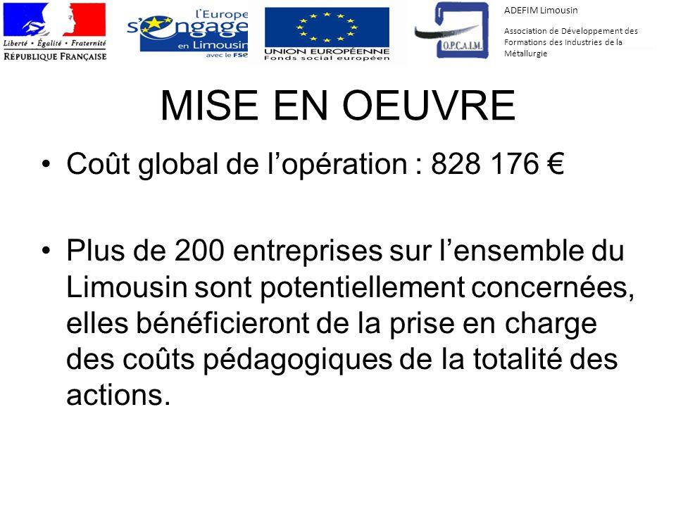 MISE EN OEUVRE Coût global de l'opération : 828 176 €