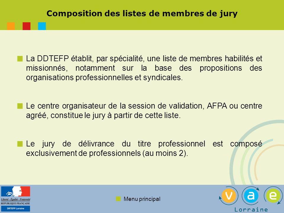 Composition des listes de membres de jury
