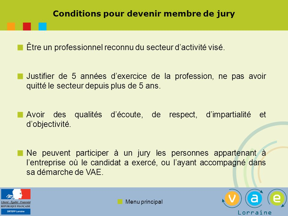 Conditions pour devenir membre de jury