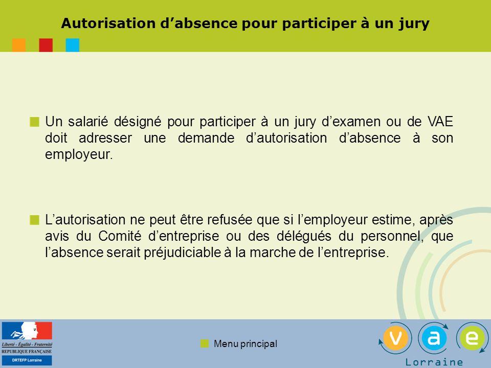 Autorisation d'absence pour participer à un jury
