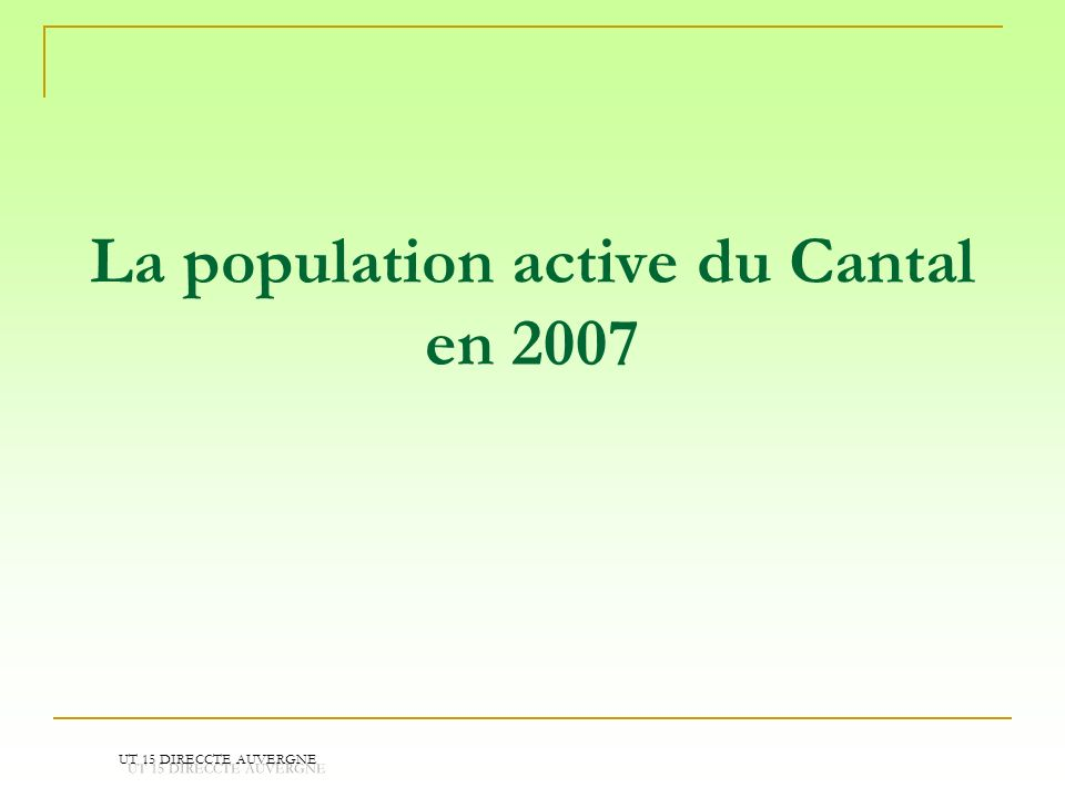 La population active du Cantal en 2007