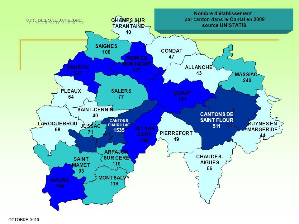 Nombre d'établissement par canton dans le Cantal en 2009
