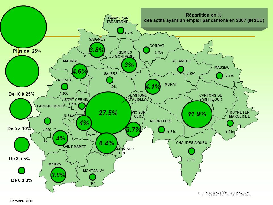 des actifs ayant un emploi par cantons en 2007 (INSEE)