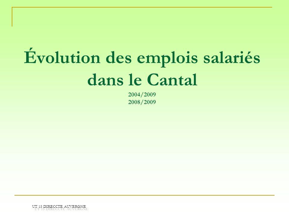 Évolution des emplois salariés dans le Cantal 2004/2009 2008/2009