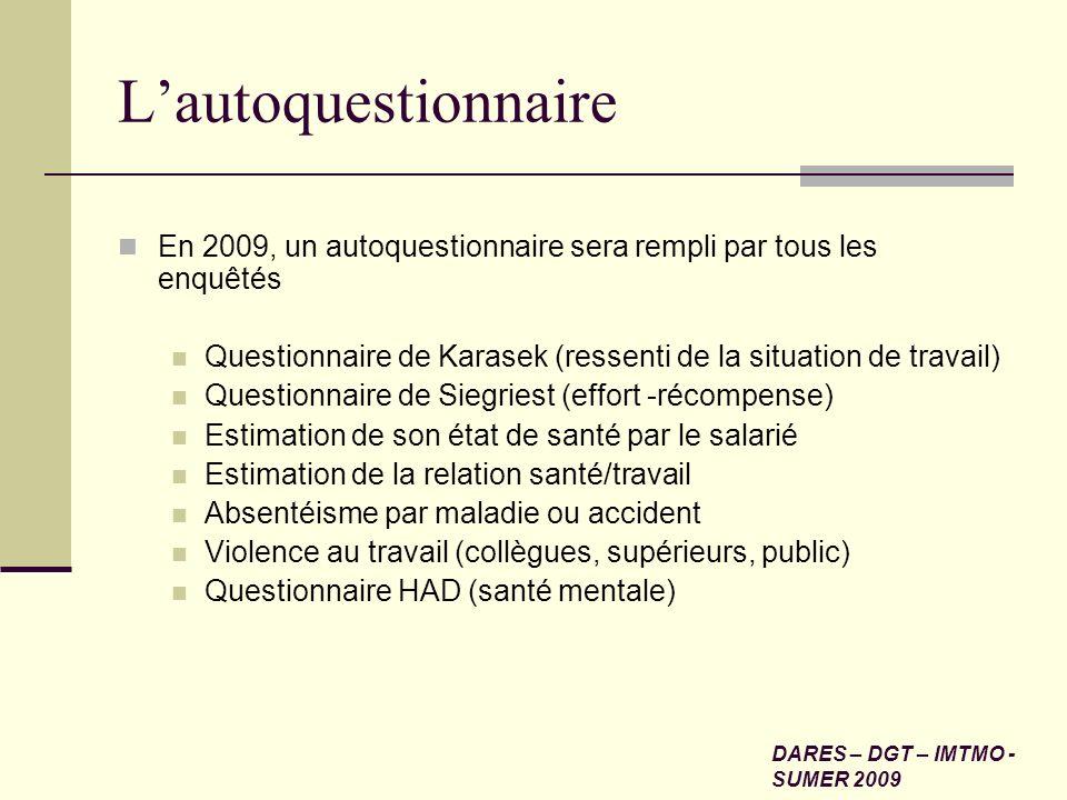 L'autoquestionnaire En 2009, un autoquestionnaire sera rempli par tous les enquêtés. Questionnaire de Karasek (ressenti de la situation de travail)