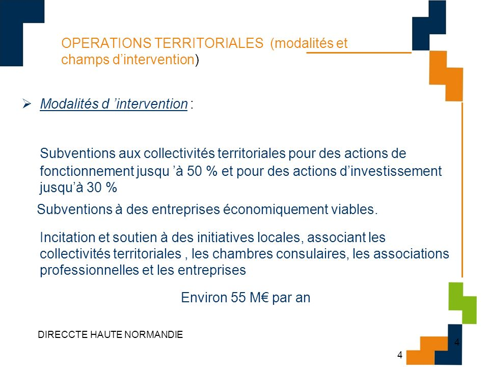 OPERATIONS TERRITORIALES (modalités et champs d'intervention)