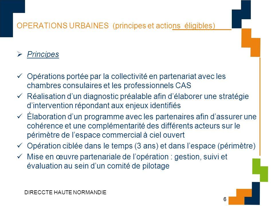 OPERATIONS URBAINES (principes et actions éligibles)