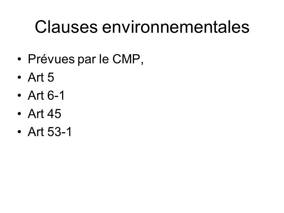 Clauses environnementales