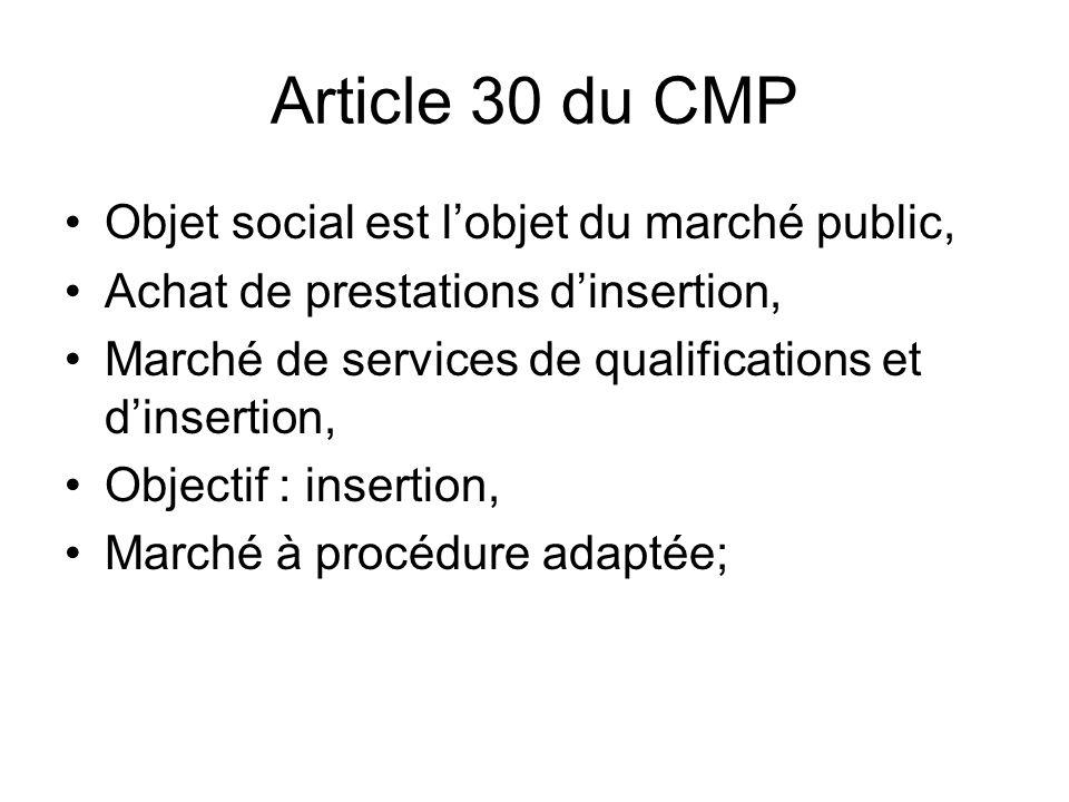Article 30 du CMP Objet social est l'objet du marché public,