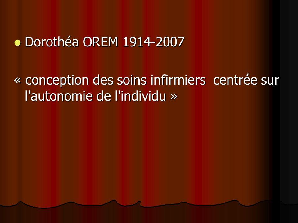 Dorothéa OREM 1914-2007 « conception des soins infirmiers centrée sur l autonomie de l individu »